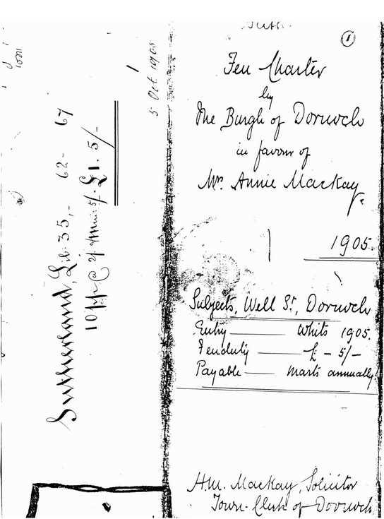Feu charter Burgh of Dornoch/Annie Mackay 1905