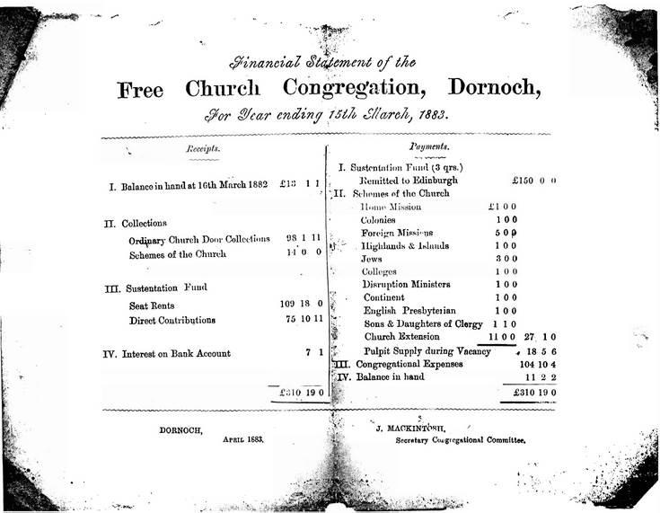 Financial Statement of Free Church Congregation  Dornoch 1883