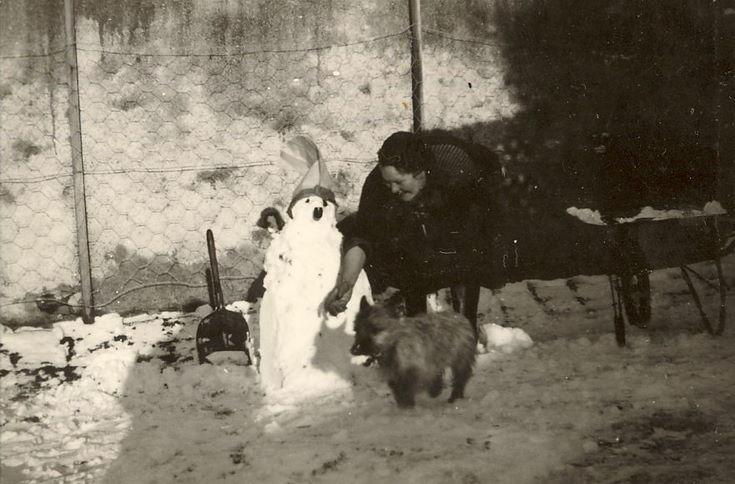 Mrs. Ruby Hardie, building a snowman