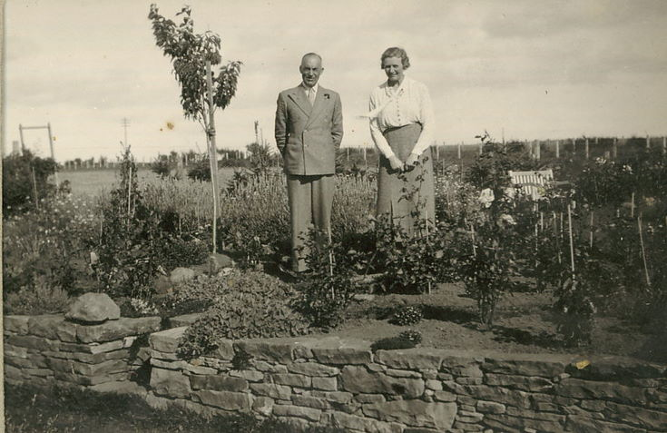 Couple standing in a Rose Garden