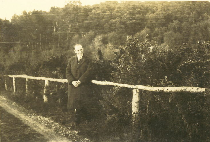 Man standing against a single-rail fence