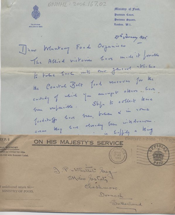 Ministry of Food handwritten letter and envelope 1945