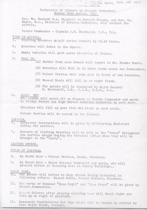 Dedication of Colours Dornoch 1951 - Parade Orders