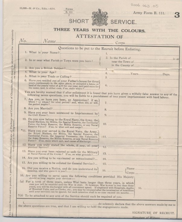 Dornoch Historylinks Image Library - Attestation Form Three Years