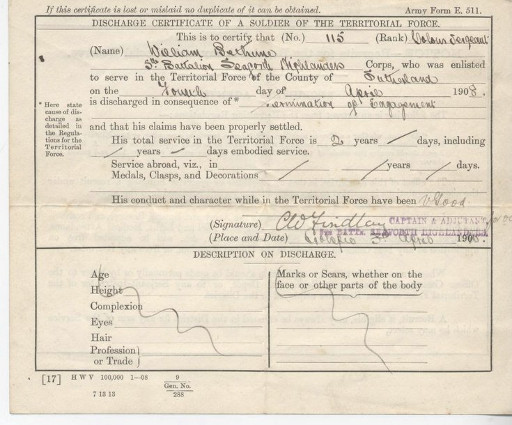 Discharge Certificate Territorial Force Soldier 1908