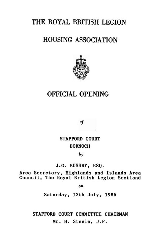 Programme for Official Opening of Stafford Court Dornoch