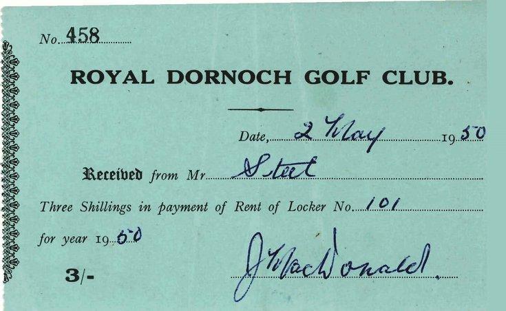 Receipt for rent of Golf Club locker 1950
