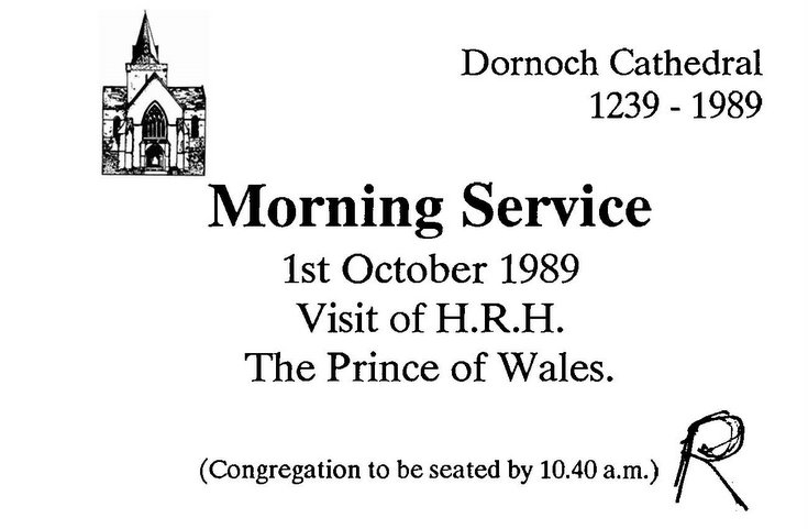 Invitation to Morning Service - Visit of HRH The Prince of Wales