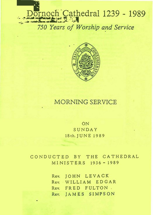 Morning Service - 750th Anniversary Dornoch Cathedral