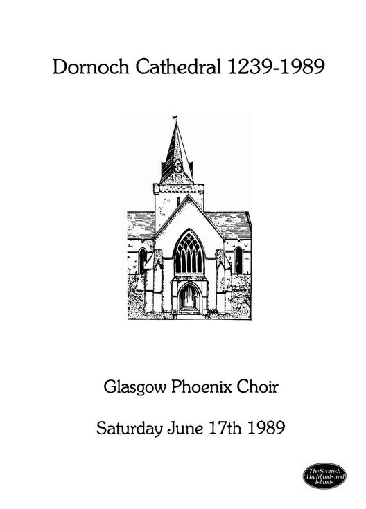 Concert by Glasgow Phoenix Choir at Dornoch Cathedral 1989