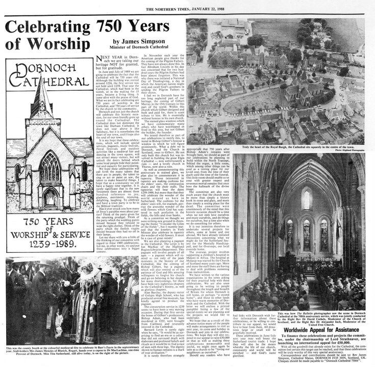 Celebrating 750 years of worship at Dornoch Cathedral