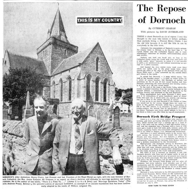 Newspaper article 'The Repose of Dornoch'