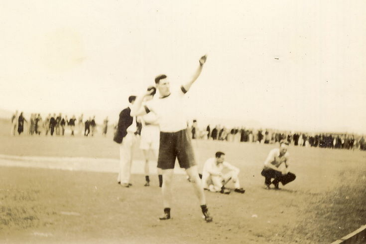 Man putting the shot at the Dornoch Games