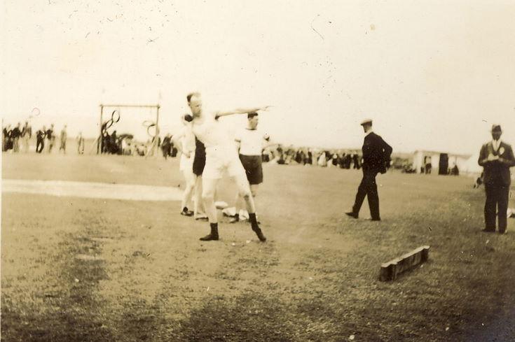 Man putting the shot at Dornoch Games