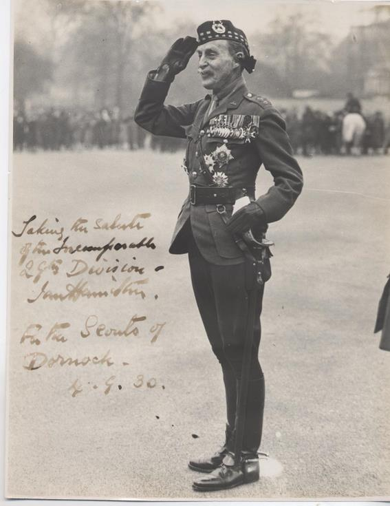 Colonel Ian Hamilton taking the salute for the 29th Division