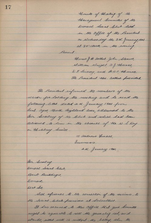 Minute Book of the Dornoch Social Club 1939 - 1979