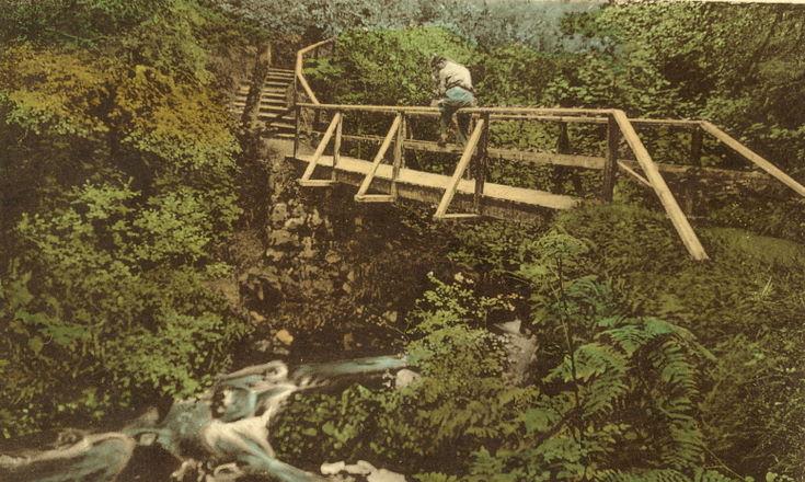 Tinted postcard of Fairy Glen, Spinningdale