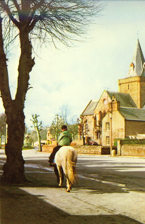 Dornoch Cathedral with a horse and rider in foreground
