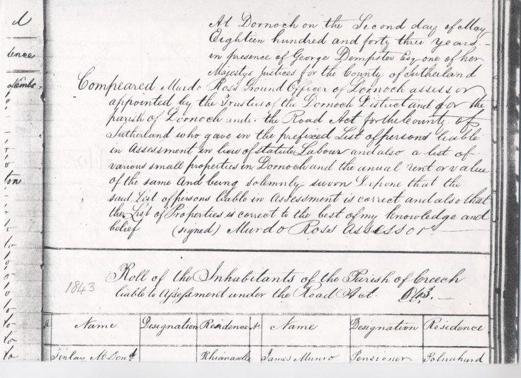 Statute labour list Creich 1843