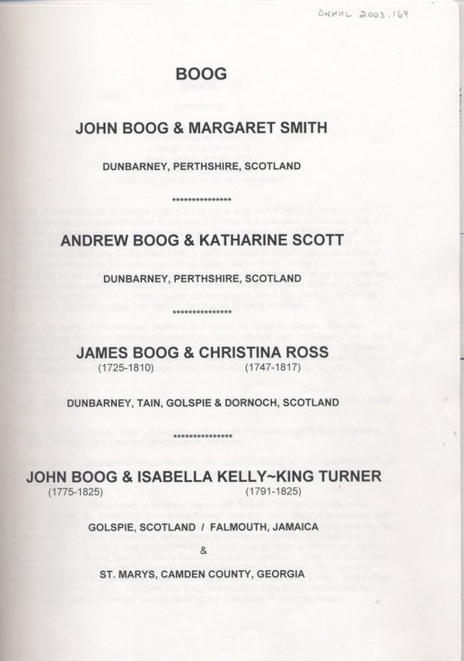 Boog family file including James Boog of Dornoch