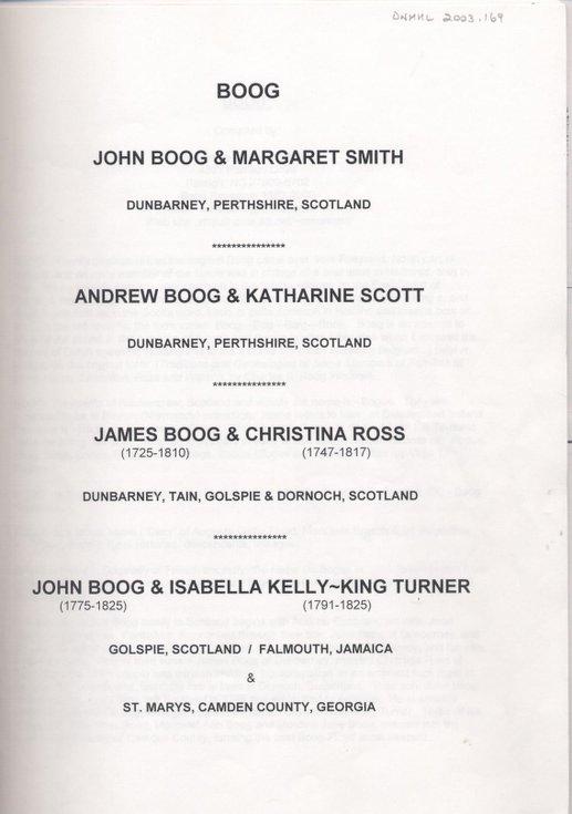 Boog family file including James Boog of Dornoch