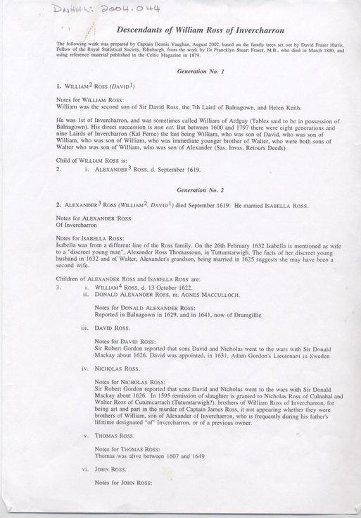 Descendants of William Ross of Invercharron