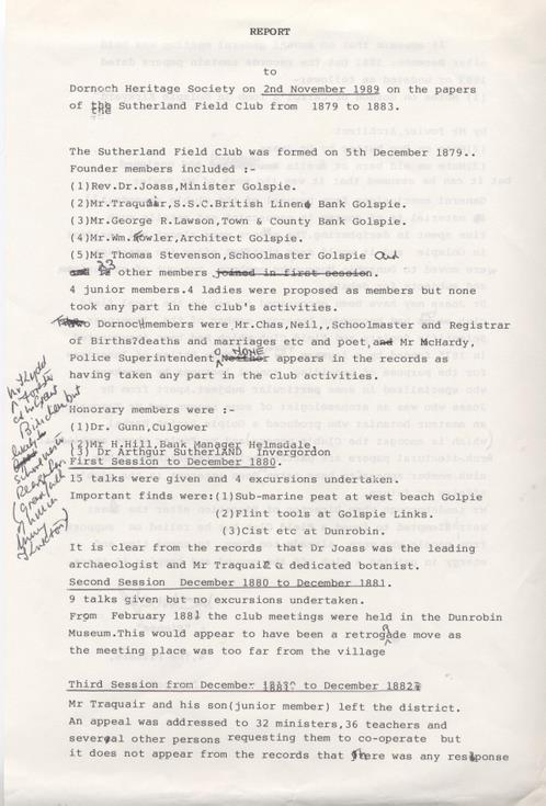 Report on Sutherland Field Club papers 1989