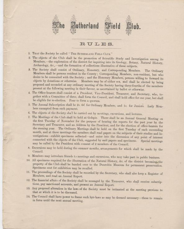 Rules of the Sutherland Field Club 1880