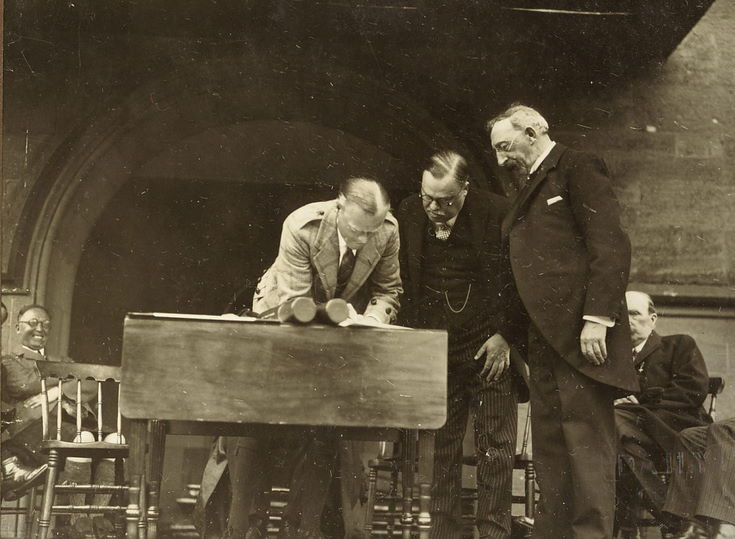 Duke of Sutherland signing Freedom Document 1928