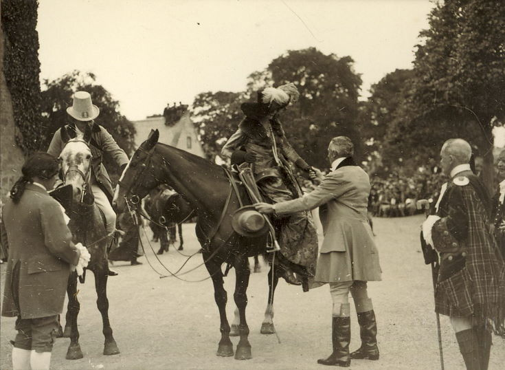 Lady performer dismounting from horse Pageant 1928