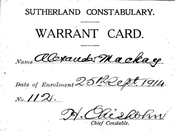 Warrant card for Special Constable Alex Mackay