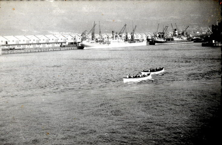 Boats of RMS Armadale Castle at rowing practice