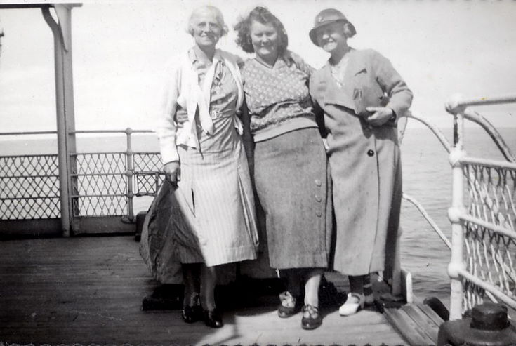 Mrs. Parker, Ruby (Hardie), and Mrs. Macmillan (Mac) on board RMS Armadale Castle