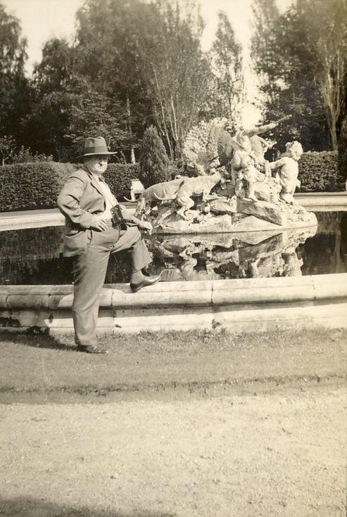 Mr Hardie at an ornamental fountain
