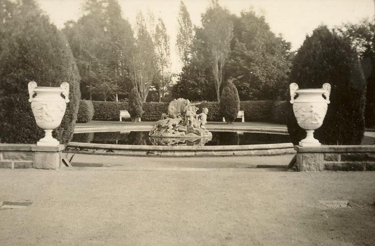 Formal garden with ornamental fountain