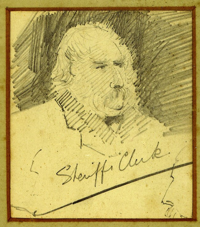Donald Taylor Sheriff's Clerk 1846-1895 - pencil drawing