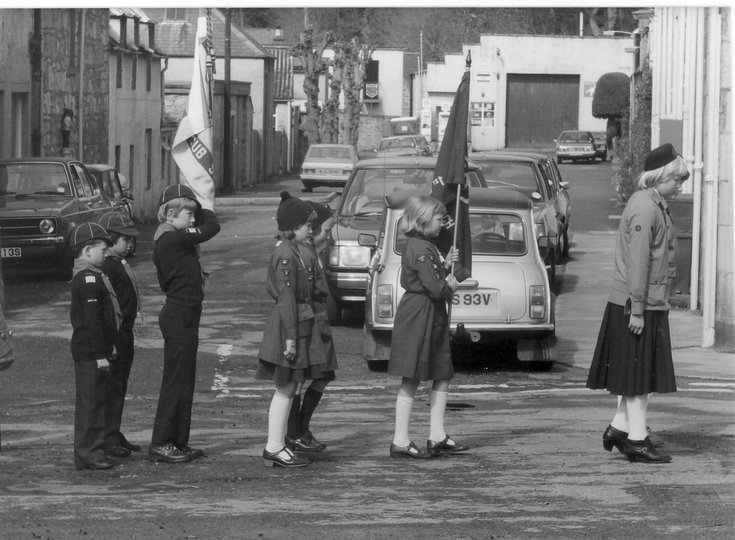Dornoch Cubs and Brownies on parade 1988 - 1989