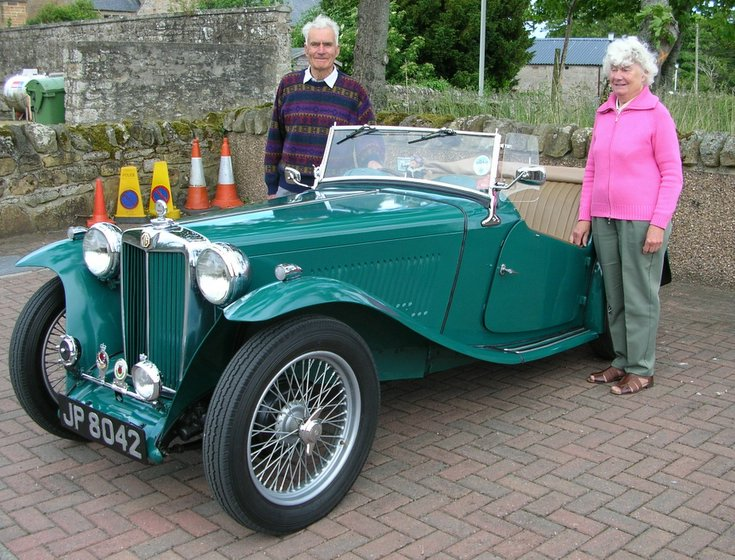 Mr & Mrs Duncan Matheson with MG TC car