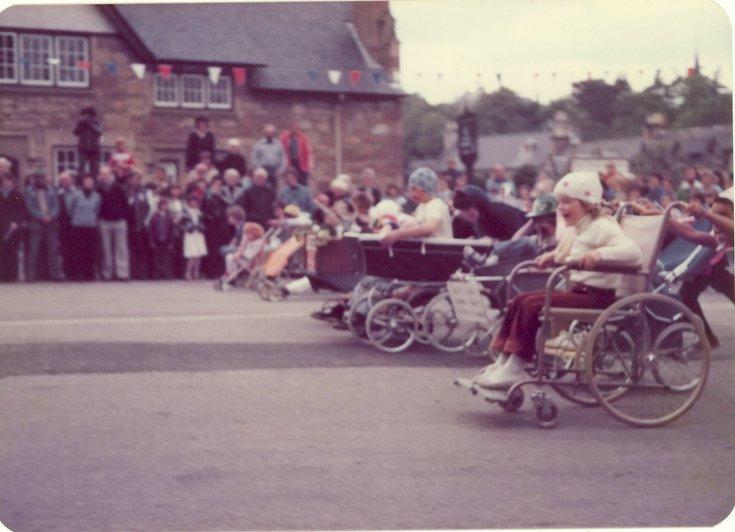 Start of pram race Dornoch Festival week