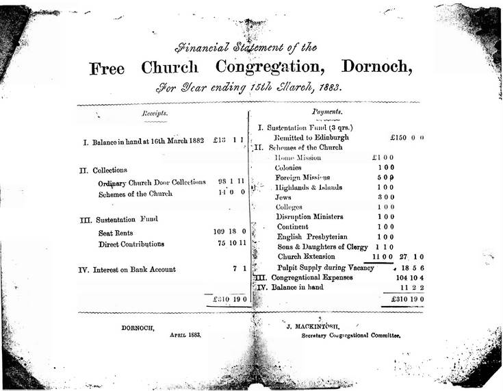 Financial statement of the Free Church, Dornoch 1883