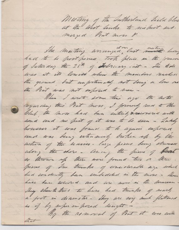 Report of outing to view peat moss at Golspie 1881