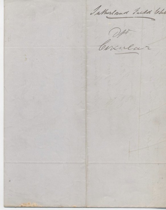 Draft circular - support for Sutherland Field Club 1881