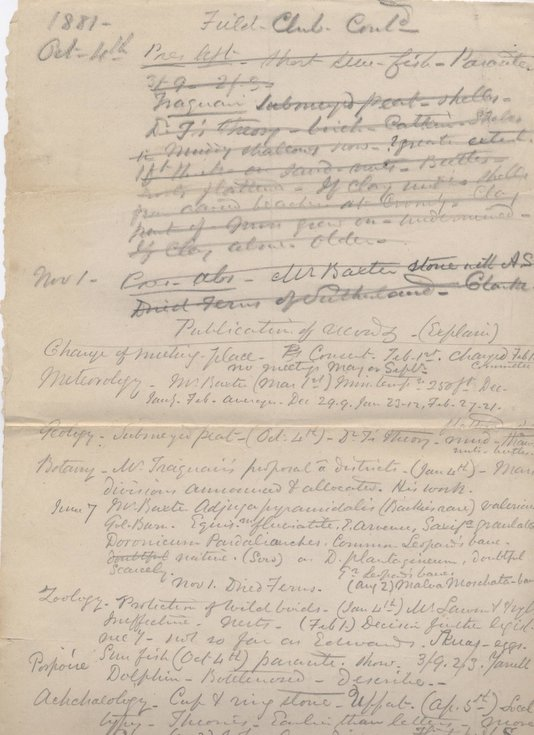 Notes for Field Club annual report 1881