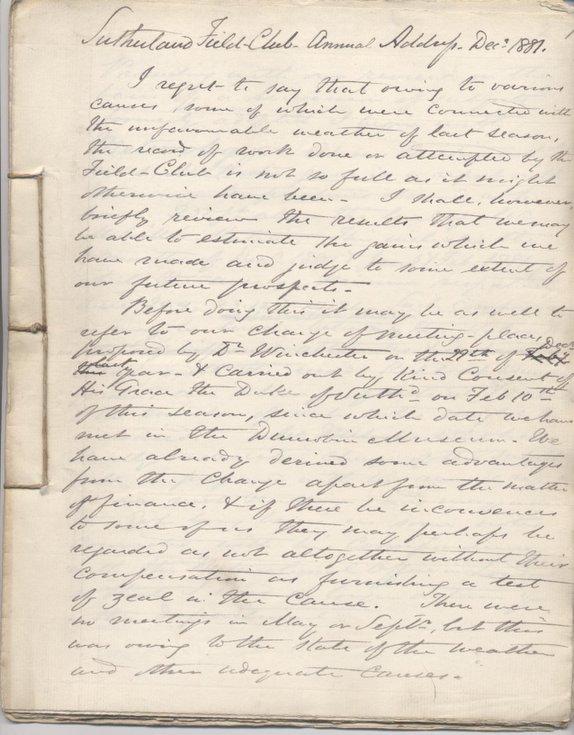 Sutherland Field Club Annual Address Dec 1881