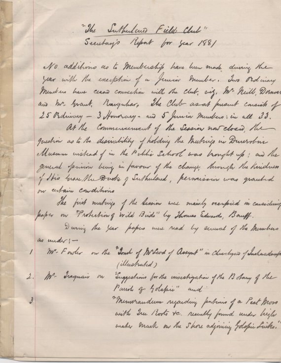 Sutherland Field Club Secretary's report 1881