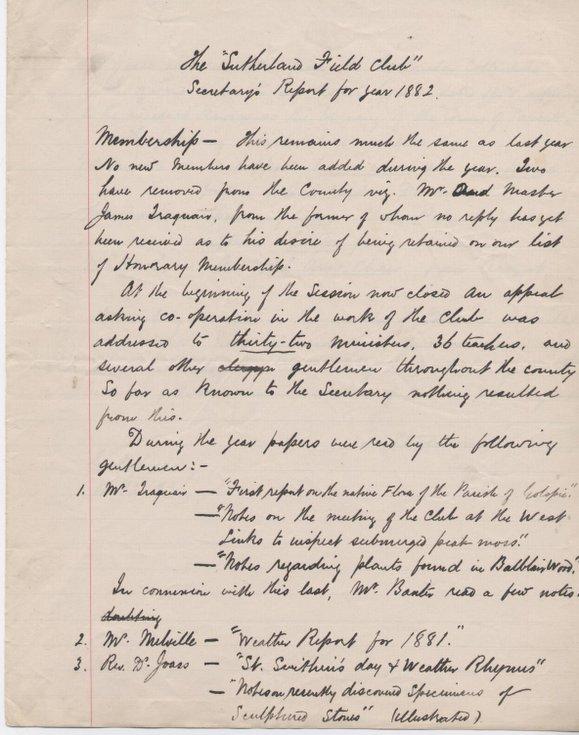 Sutherland Field Club Secretary's Report 1882
