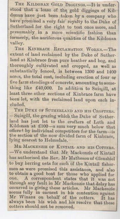 Kildonan gold diggings et al 1882