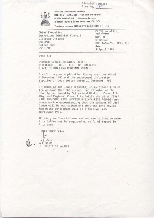 Rental value of Dornoch Sewage Works 1986