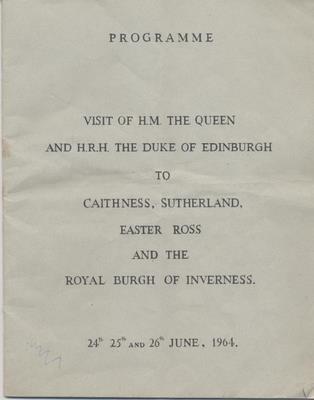 Programme for visit of Queen Elizabeth to Highlands 1964