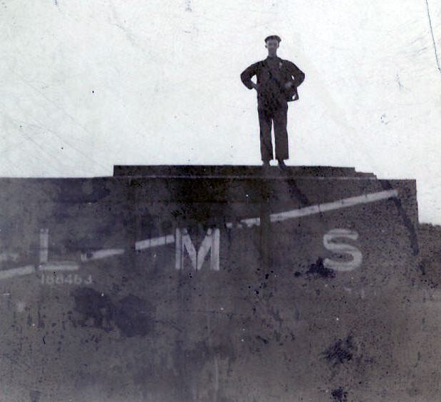 James Matheson standing on LMS railway truck at Skelbo